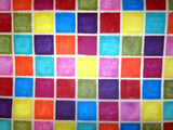 Multi Coloured Patchwork Design, Handmade Batik Waxed Lokta Paper Sheet, Gift Wrap 50x75cm