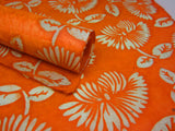 Vibrant Orange Floral Handmade Batik Waxed Lokta Paper Sheet, for Gift Wrap, Collage, Scrapbooking 50x75cm