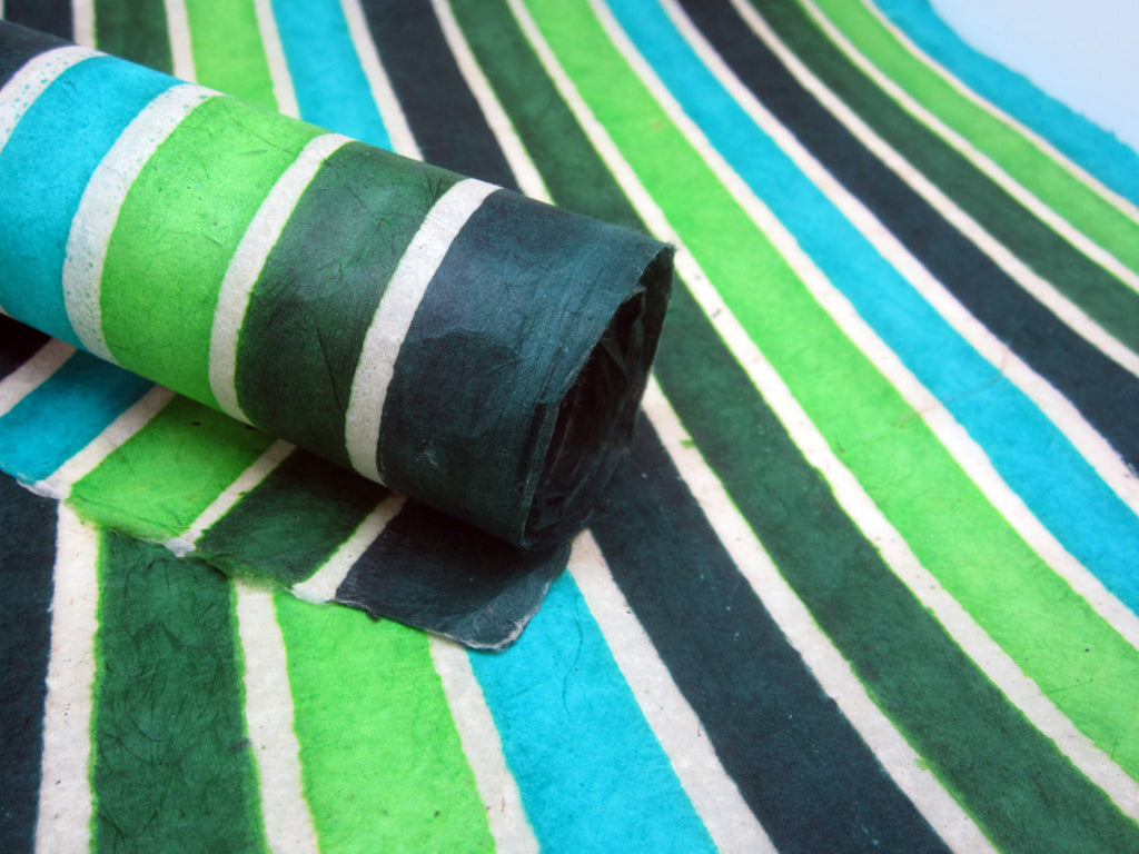 Green Stripes Design, Handmade Batik Waxed Lokta Paper Sheet, Gift Wrap, Scrapbooking 50x75cm