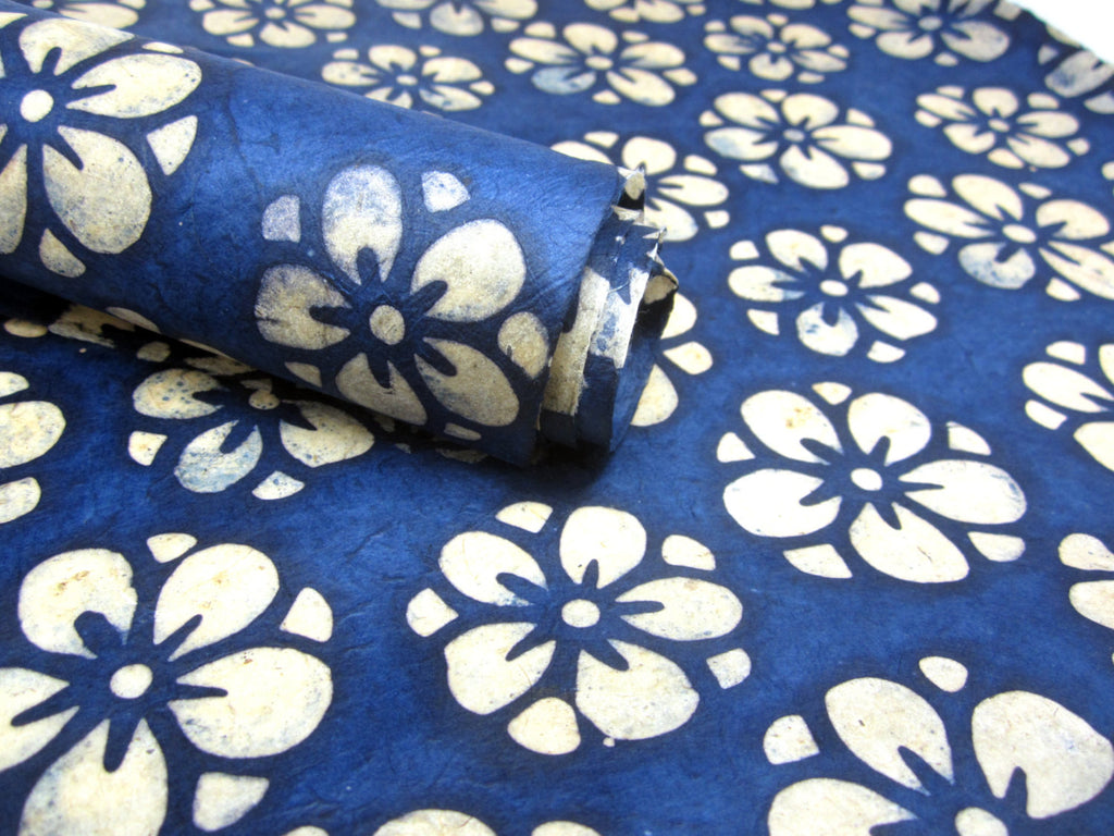 Blue Marygold Design, Handmade Batik Waxed Lokta Paper Sheet, for Gift Wrap, Collage, Scrapbooking 50x75cm
