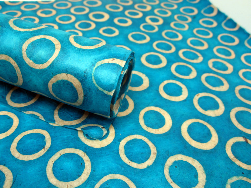 Blue Dot Design, Handmade Batik Waxed Lokta Paper Sheet, for Gift Wrap, Collage, Scrapbooking 50x75cm