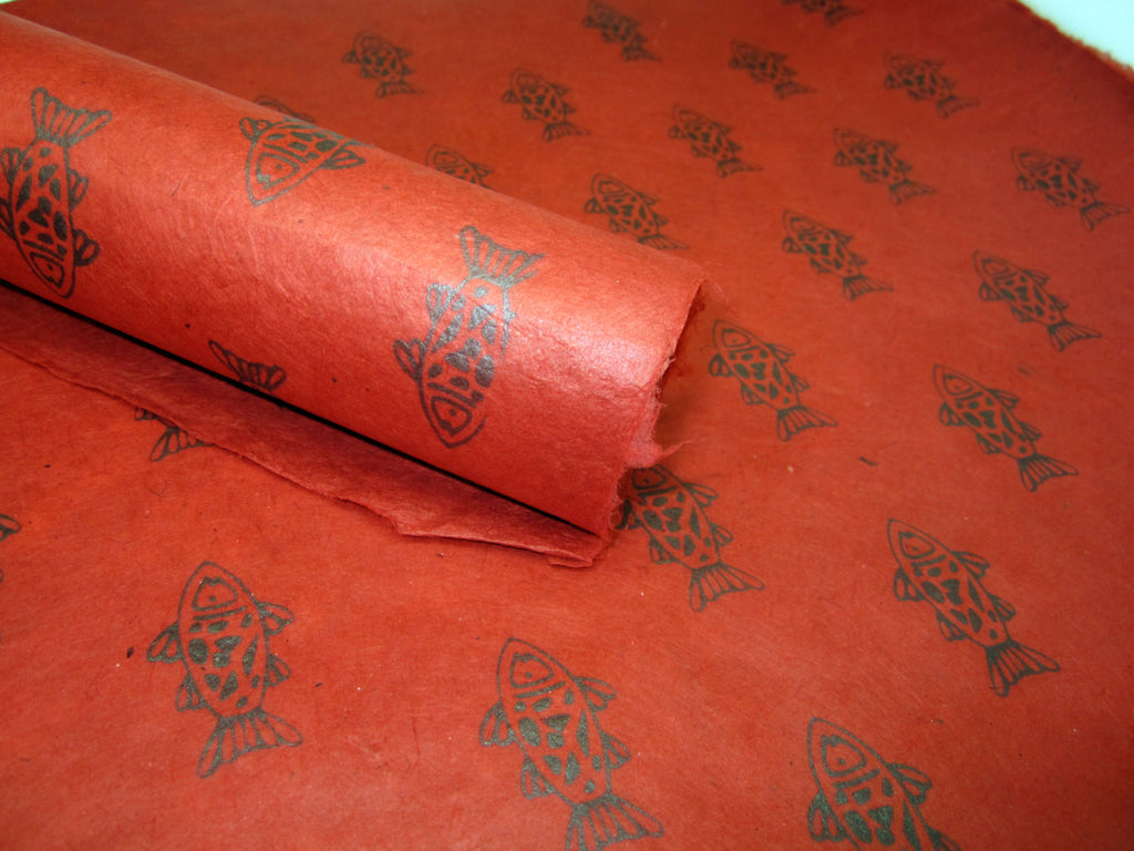 Red Fish Design, Handmade Himalayan Nepalese Lokta Paper Sheet, for Gift Wrap, Collage, Scrapbooking 50x75cm