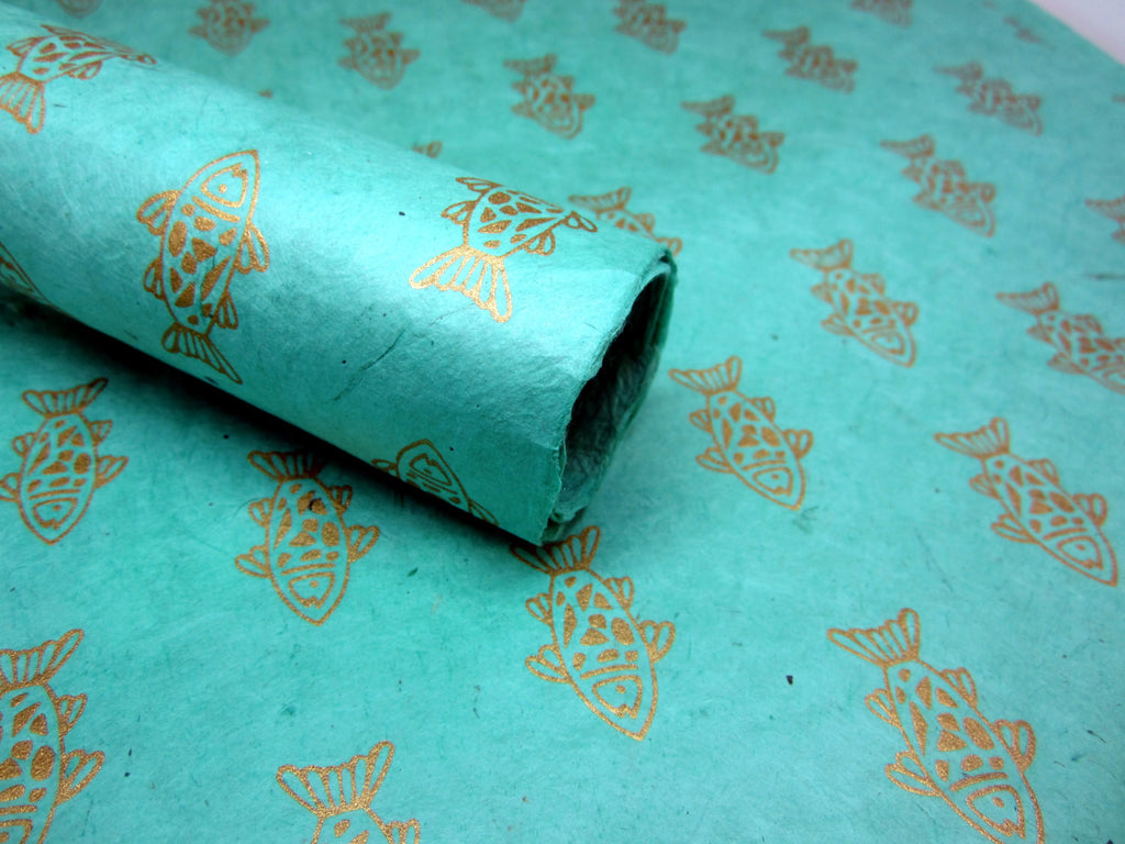 Mint Green and Gold Fish Design, Lokta Paper Sheet, Handmade Gift Wrap