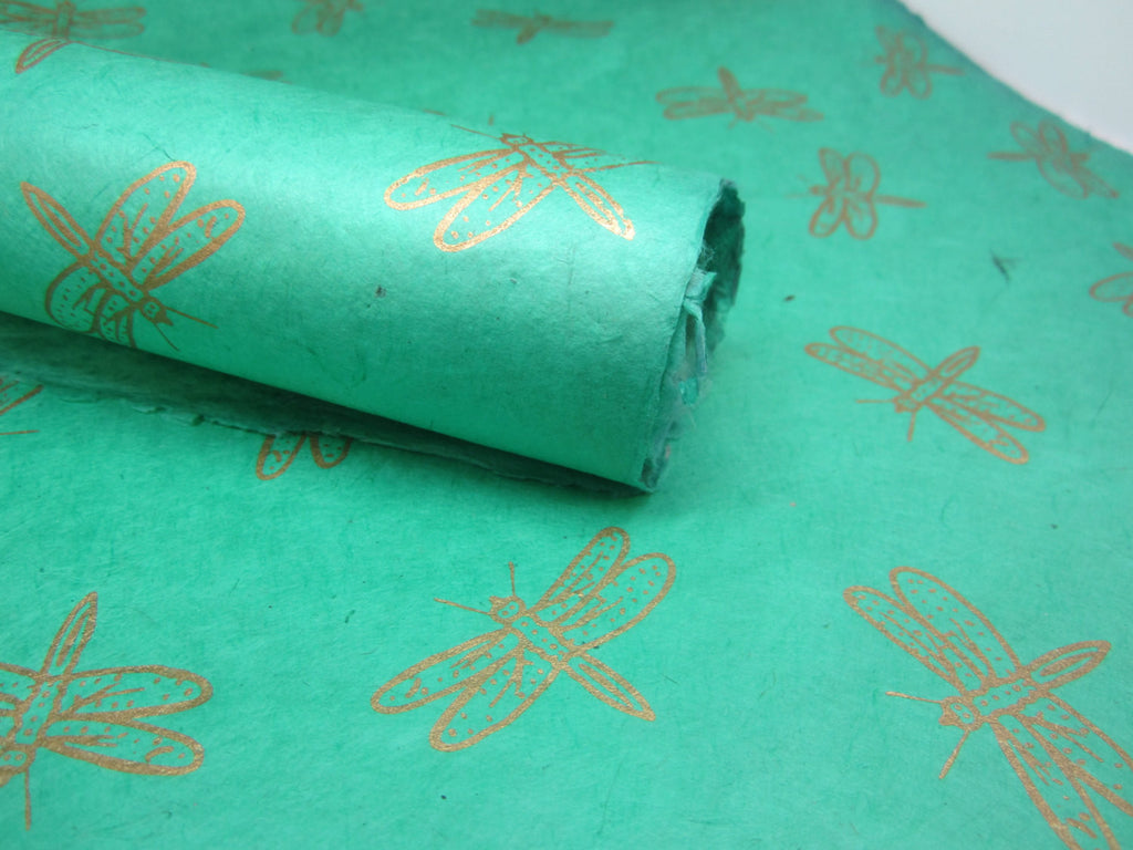 Mint Green and Gold Dragonfly Design, Handmade Himalayan Nepalese Lokta Paper Sheet, for Gift Wrap, Collage, Scrapbooking 50x75cm