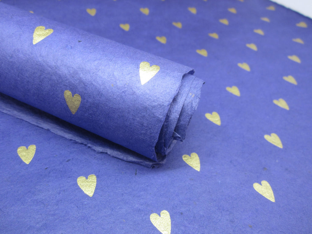 Blue Gold Heart Design, Handmade Himalayan Nepalese Lokta Paper Sheet, for Gift Wrap, Collage, Scrapbooking 50x75cm