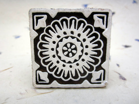 Wood Block Print Stamp, Mandala Flower Design, Mango Wood, Handmade, Indian, Henna, Textile Printing, Craft Supply, Wooden Ornament, Square