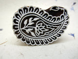 Wood Block Print Stamp, Paisley Design, Mango Wood, Handmade, Indian