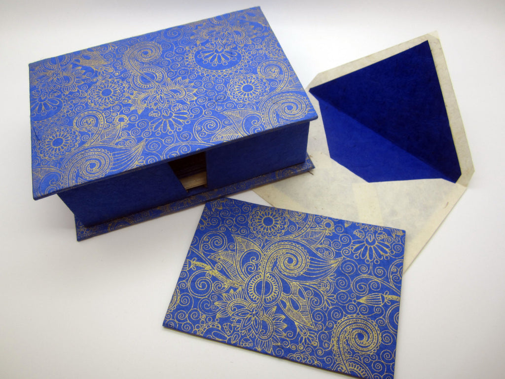Card Gift Set and Box, 15 Cards 15 Envelopes, Dark Blue Gold Pattern, Lokta Paper, Letter Writing, Handmade, Boxed Gift Card Set