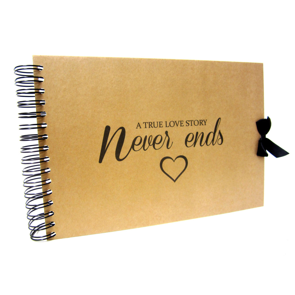 A4 A5, A True Love Story Never Ends Scrapbook, Landscape, Card Pages, Photo Album, Keepsake