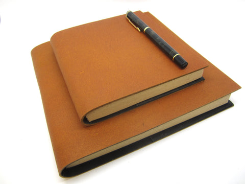 Goat Leather Journal, Natural Lokta Pages, High Quality Refillable Leafs, Square, Scrapbook, Notebook