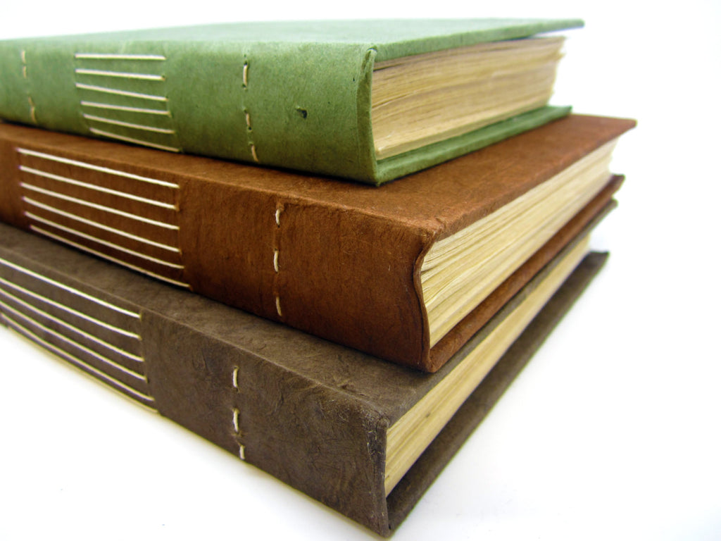 Natural Hardback Notebook, Lokta Pages, Earth Journal, Rustic, Green, Brown, Chocolate