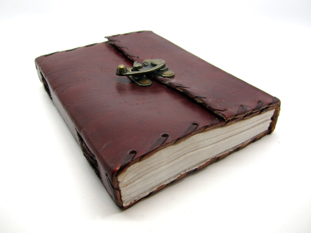 Real Leather Stitched Journal, Travel Notebook, Lock Diary, Cotton Rag Pages