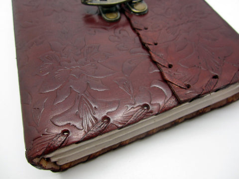 Embossed Floral Vintage Leather Journal, Travel Notebook, Lock Diary, Cotton Rag Pages