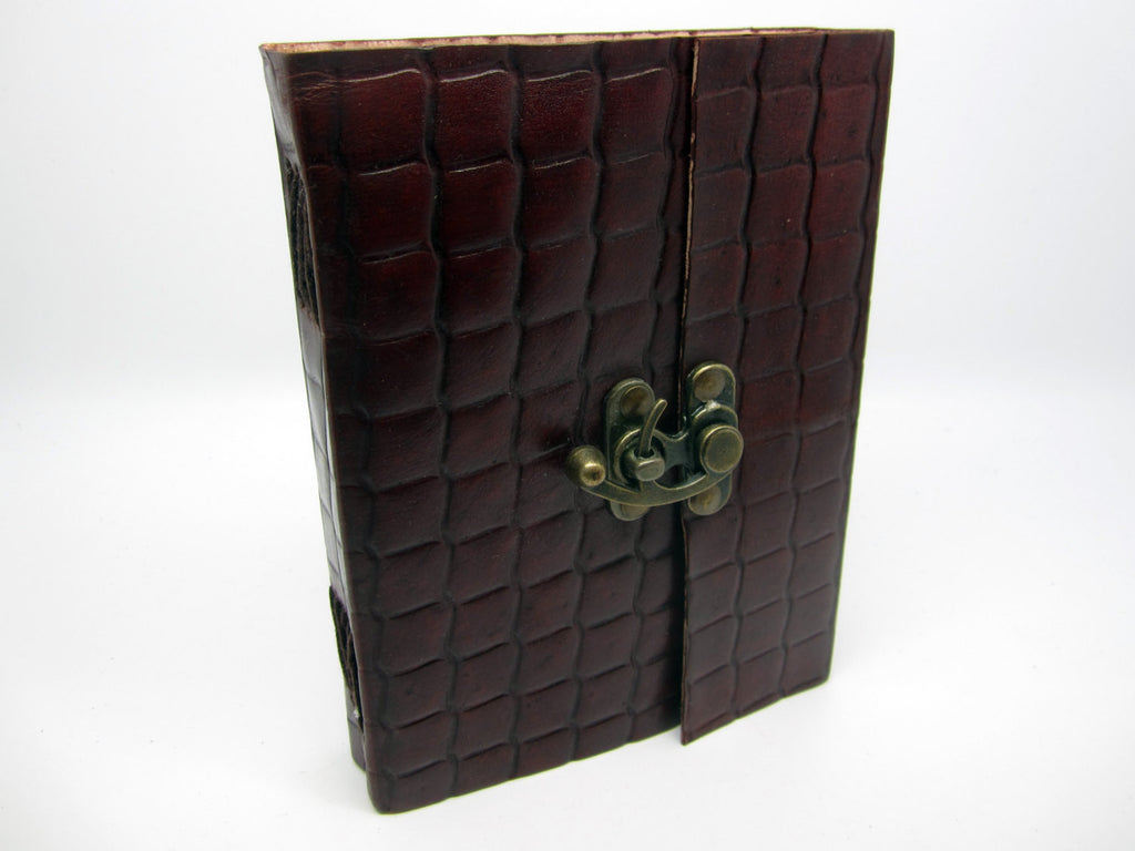 Vintage Brown Leather Journal Diary, Notebook, Real Leather, Embossed, Scales, Cotton Pages, A5