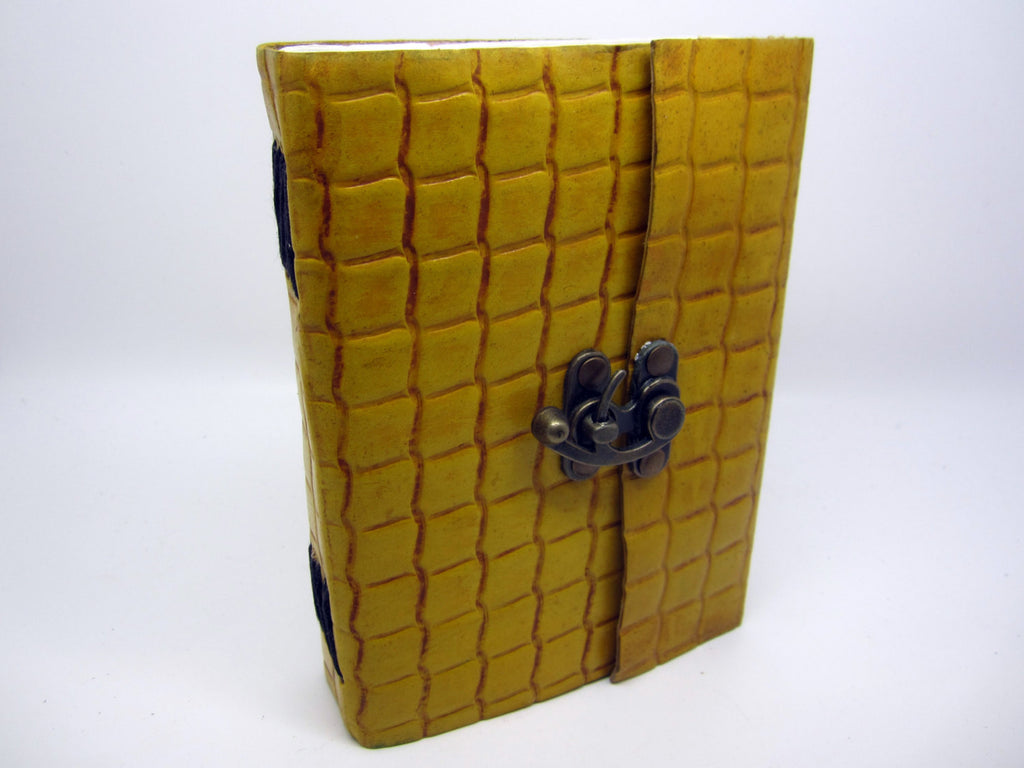 Yellow Leather Journal Diary, Notebook, Real Leather, Embossed, Scales, Cotton Pages, A5