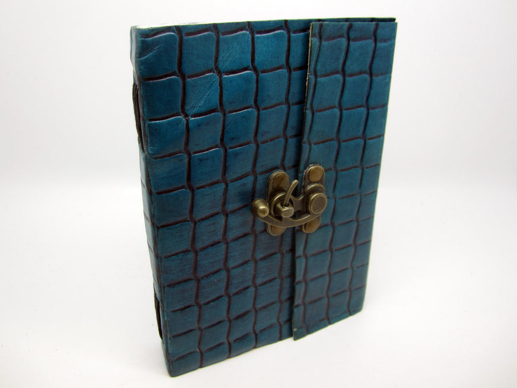 Sea Blue Leather Journal Diary, Notebook, Real Leather, Embossed, Scales, Cotton Pages, A5