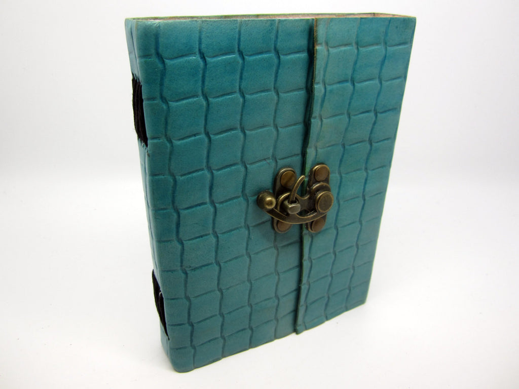 Light Blue Leather Journal Diary, Notebook, Real Leather, Embossed, Scales, Cotton Pages, A5