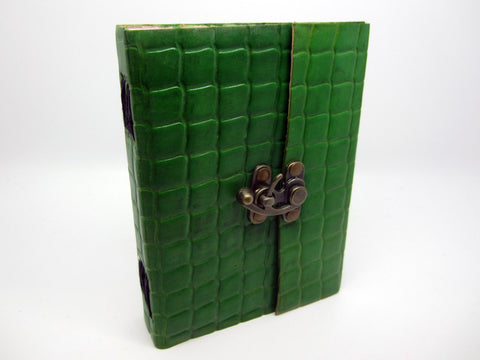 Dark Green Leather Journal Diary, Notebook, Real Leather, Embossed, Scales, Cotton Pages, A5