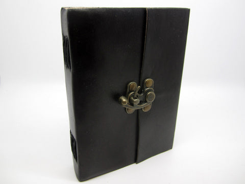 Black Leather Journal Diary, Notebook, Real Leather, Cotton Pages, A5