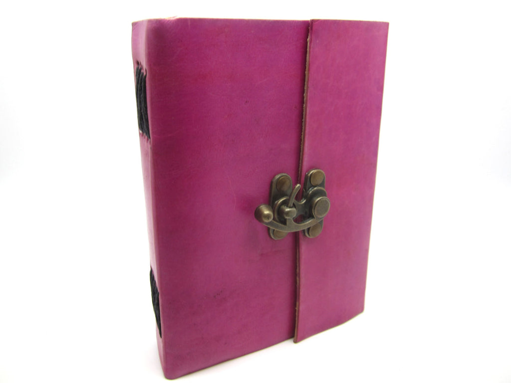 Pink Leather Journal Diary, Notebook, Real Leather, Cotton Pages, A5