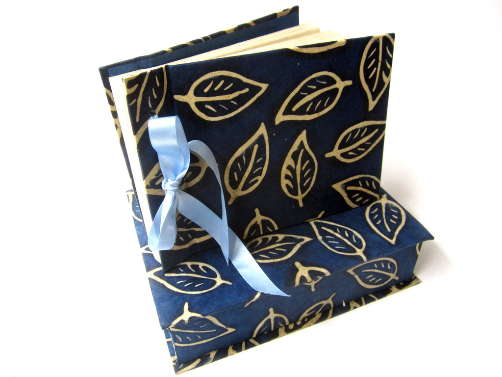 Blue Boxed Leaf Scrapbook, Photo Album, Guestbook, Natural Lokta, Ribbon Tie, Wedding
