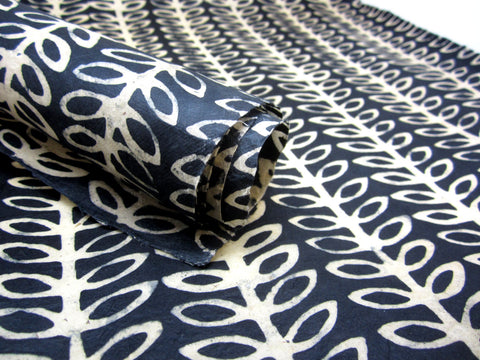 Black Cream Plant Handmade Batik Waxed Lokta Paper Sheet, for Gift Wrap, Collage, Scrapbooking 50x75cm