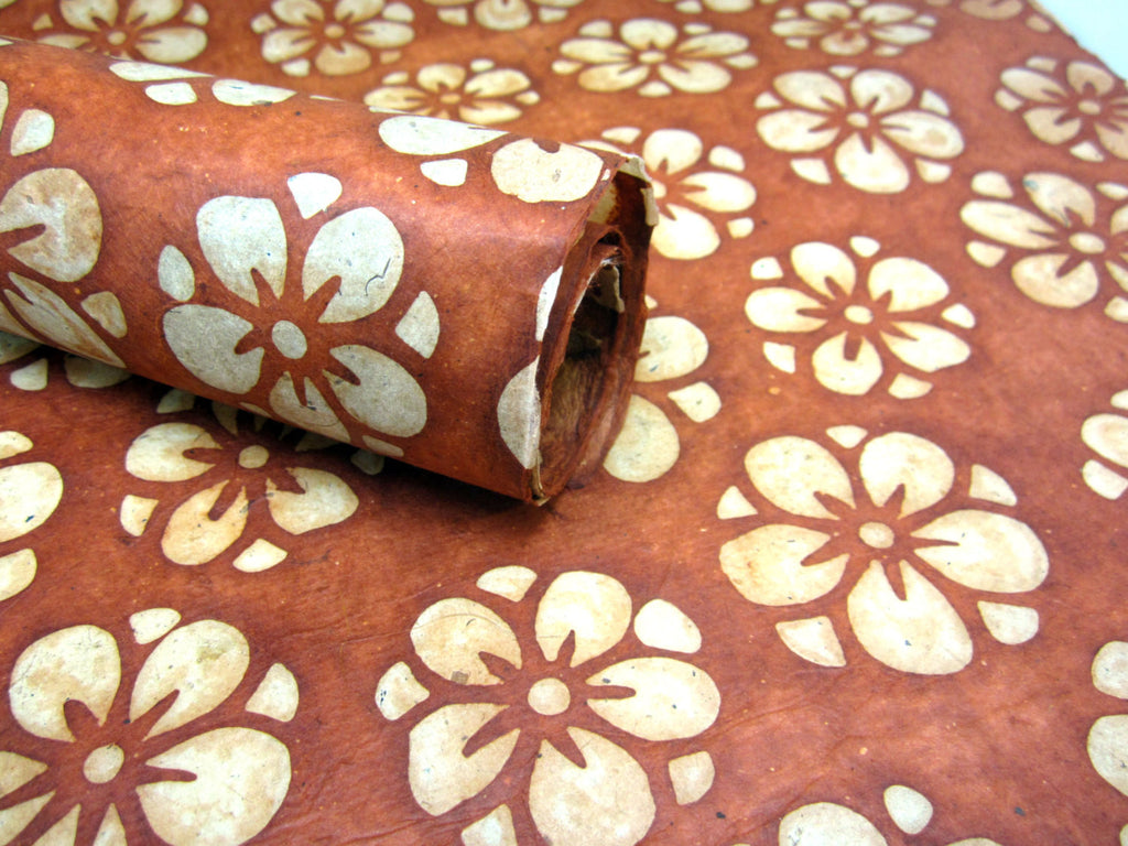 Terracotta Marygold Design, Handmade Batik Waxed Lokta Paper Sheet, for Gift Wrap, Collage, Scrapbooking 50x75cm