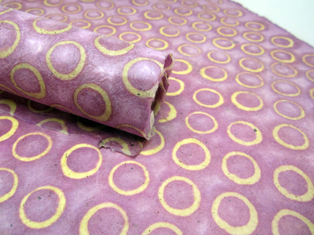 Light Purple Dot Design, Handmade Batik Waxed Lokta Paper Sheet, Gift Wrap 50x75cm