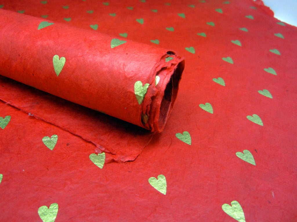 Red Gold Heart Design, Handmade Himalayan Nepalese Lokta Paper Sheet, for Gift Wrap, Collage, Scrapbooking 50x75cm