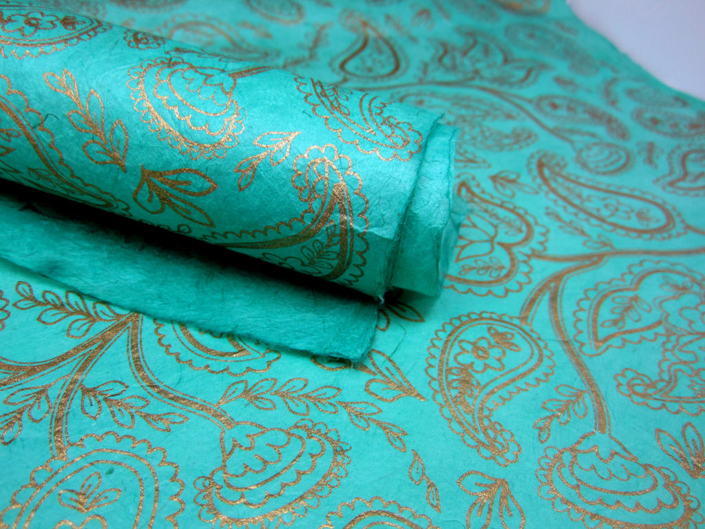 Mint Green and Gold Paisley Design, Handmade Himalayan Nepalese Lokta Paper Sheet, for Gift Wrap, Collage, Scrapbooking 50x75cm