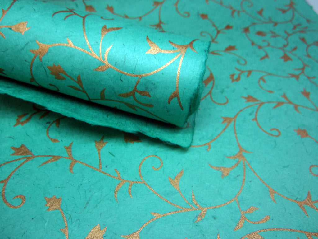 Mint Green and Gold Floral Ivy Design, Handmade Himalayan Nepalese Lokta Paper Sheet, for Gift Wrap, Collage, Scrapbooking 50x75cm