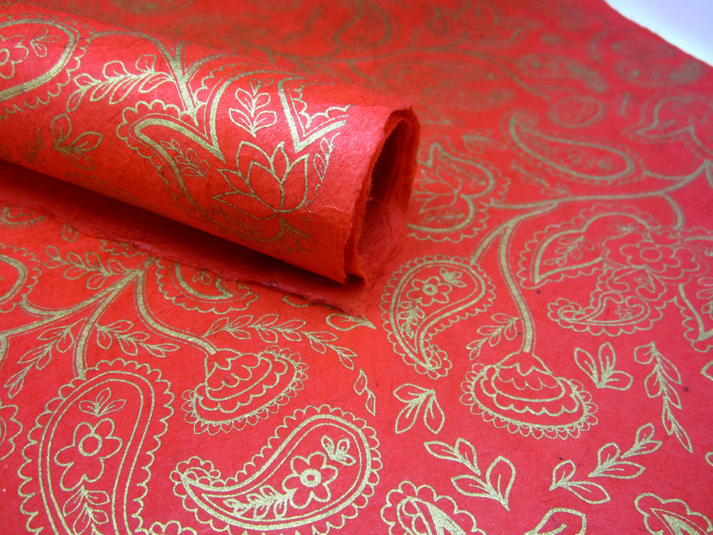 Red and Gold Paisley Design, Nepalese Lokta Paper Sheet, Handmade Gift Wrap, 50x75cm