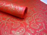 Red and Gold Paisley Design, Handmade Himalayan Nepalese Lokta Paper Sheet, for Gift Wrap, Collage, Scrapbooking 50x75cm