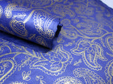 Dark Blue and Gold Paisley Design, Handmade Himalayan Nepalese Lokta Paper Sheet, for Gift Wrap, Collage, Scrapbooking 50x75cm