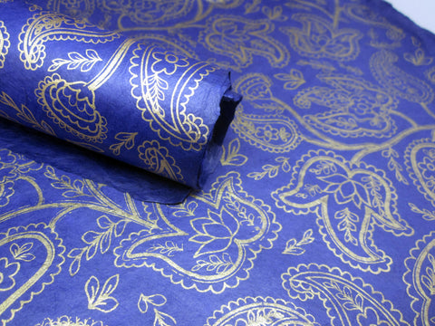 Dark Blue and Gold Paisley Design, Nepalese Lokta Paper Sheet, Handmade Gift Wrap