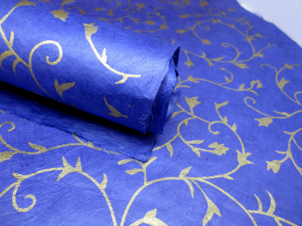 Dark Blue and Gold Floral Ivy Design, Handmade Himalayan Nepalese Lokta Paper Sheet, for Gift Wrap, Collage, Scrapbooking 50x75cm