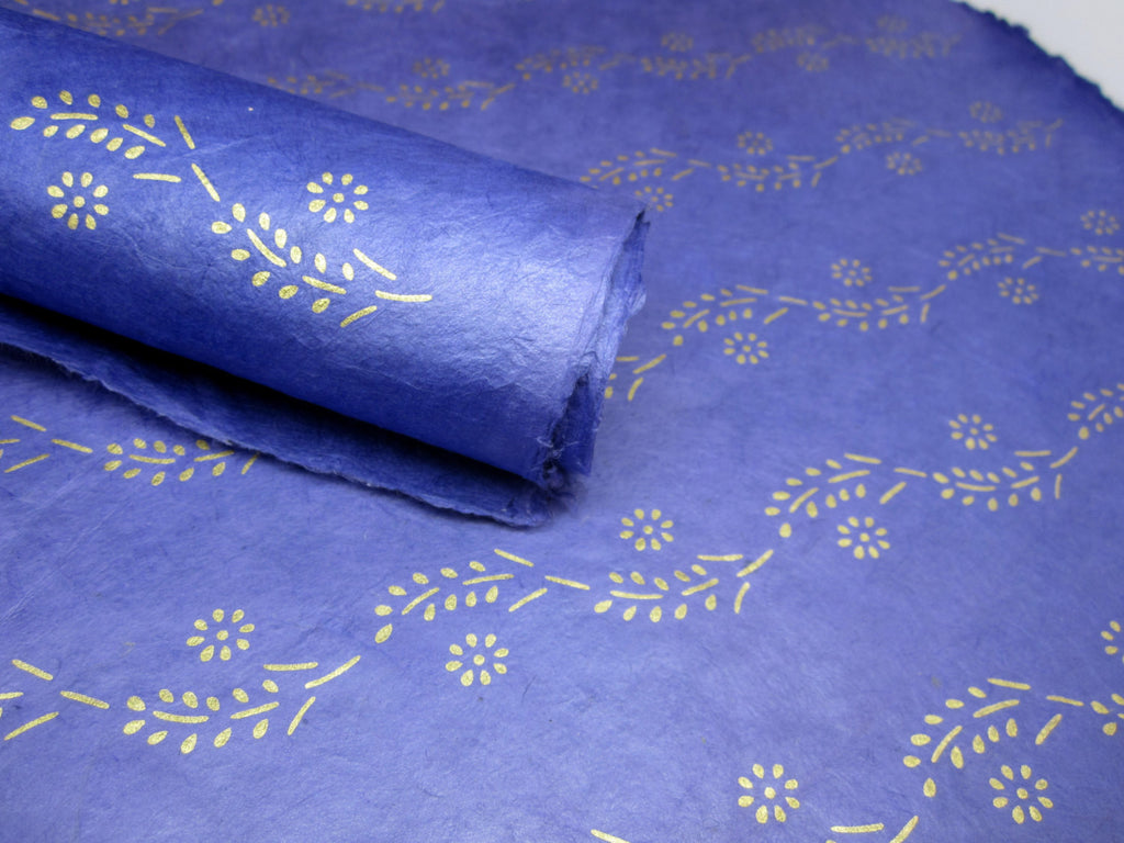 Dark Blue and Gold Floral Flower Design, Handmade Himalayan Nepalese Lokta Paper Sheet, for Gift Wrap, Collage, Scrapbooking 50x75cm