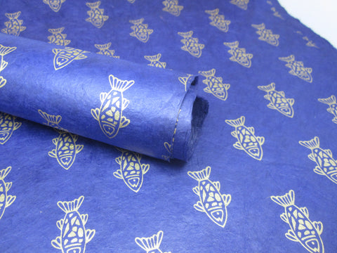 Dark Blue and Gold Fish Design, Himalayan Nepalese Lokta Paper Sheet, Handmade Gift Wrap
