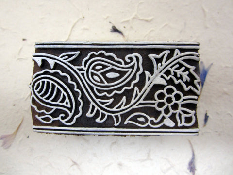 Wood Block Print Stamp, Paisley Rectangle Design, Mango Wood, Handmade, Indian