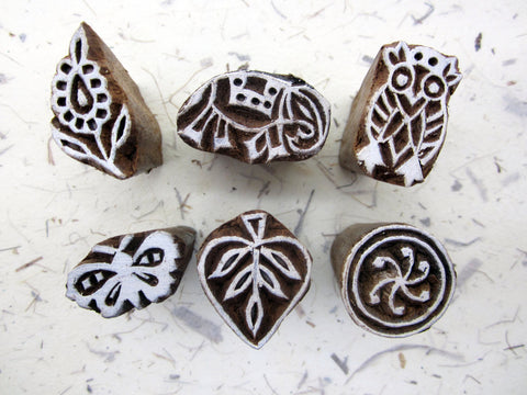 6x Wood Block Print Stamp, Paisley Owl Elephant Flower Leaf Mandala Butterfly, Mango Wood