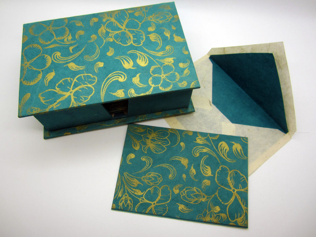 Card Gift Set and Box, 15 Cards 15 Envelopes, Teal Flower Gold Pattern, Letter Writing, Handmade