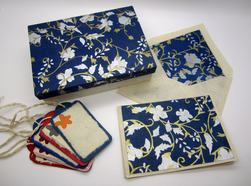 Card Gift Set and Box, 15 Cards 15 Envelopes, White Gold Blue Floral Pattern, Lokta Paper, Letter Writing, Handmade, Boxed Gift Card Set