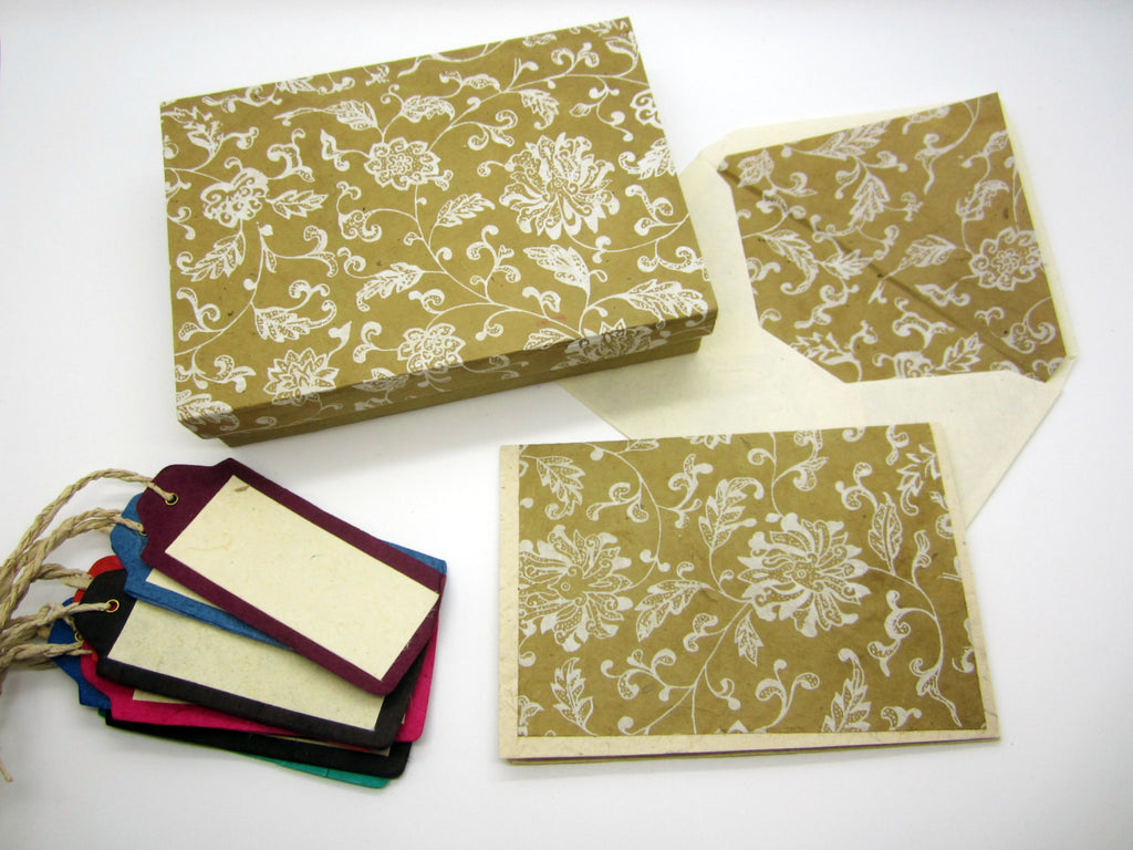 Card Gift Set and Box, 10 Cards 10 Envelopes, Gold Floral Flower Pattern, Lokta Paper, Letter Writing, Handmade, Boxed Gift Card Set