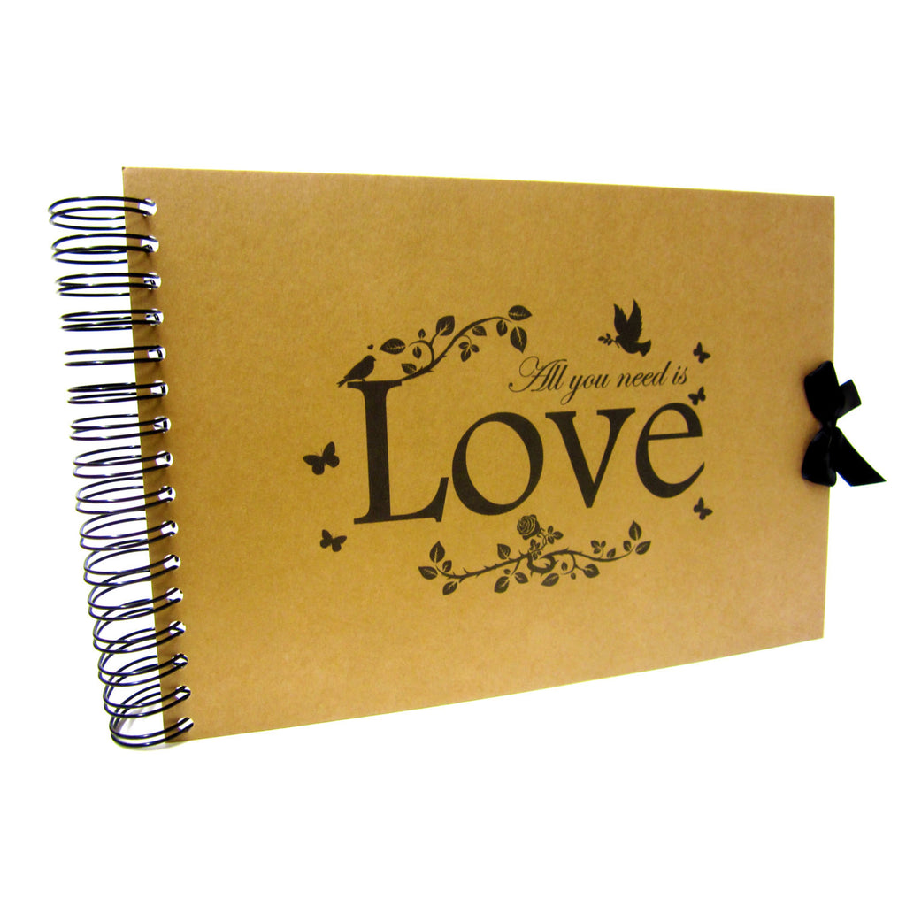 A5 A4, All You Need is Love Scrapbook, Landscape, Card Pages, Photo Album, Keepsake,