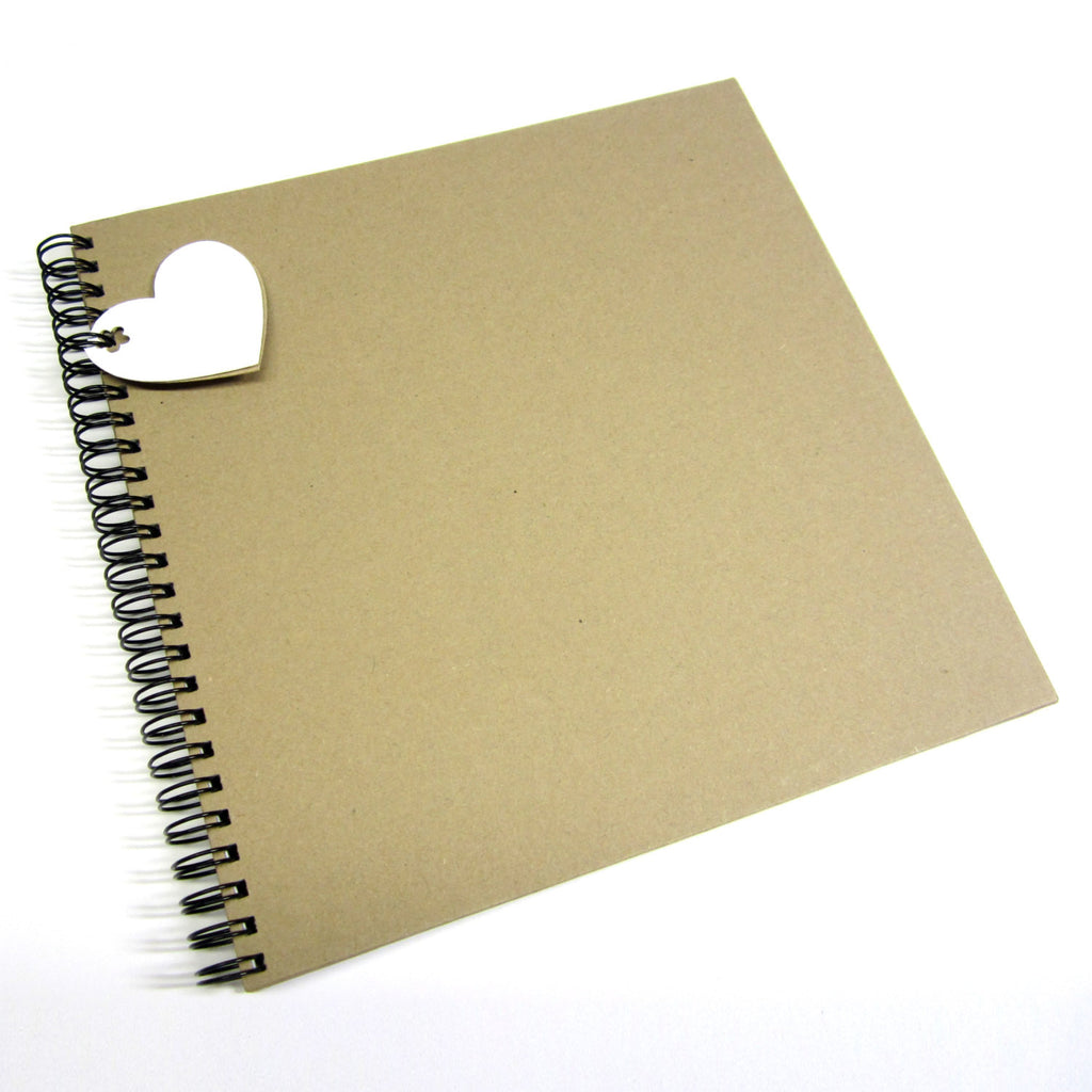 Blank Square Scrapbook 8x8 Vintage Kraft, Photo Album, Guest Book, Card Pages