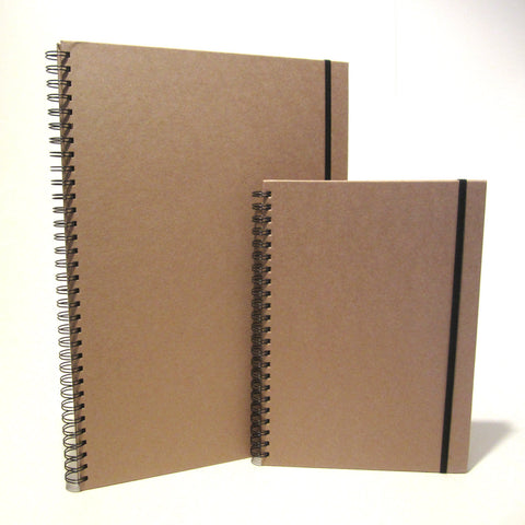 A3/A4 Kraft Portrait Scrapbook, Art Book, Sketchbook, Elastic Closure, Natural