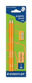 Staedtler Skolesæt Wopex Neon Orange Graphite Pencil Set - 2 Blyanter, 1 Viskelæder, 1 Blyantspidser