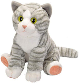 Wild Republic Animal Planet Kat Bamse - Tabby Striped Cat Grå/Hvid 35 cm