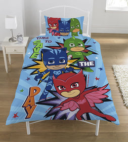 "PJ Masks ""Save the Day"" Børnesengetøj, vendbar, single, 137cm x 198cm"