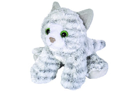 Wild Republic Lille Kat Bamse - Hug'ems Mini Grey Tabby Cat 18 cm